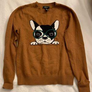 Preppy Boston Terrier mustard sweater